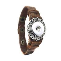 Punk Rock Intercambiabile 242 vera originale in vera pelle retro moda 18 millimetri con bottone a pressione gioielli fascino braccialetto per le donne uomini