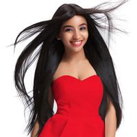 Lange glatte Haare synthetische Perücken natürliche schwarze Cosplay Perücken synthetische Haarhochtemperaturbeständigkeit Faser zum Verkauf 2018