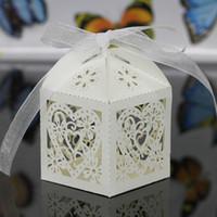 30 Renkler Düğün Iyilik Sahipleri Şeker / Çikolata Çanta Lazer Kesim Kağıt Kurdela Ile Düğün Hediye Kutuları BW-C010