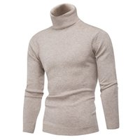 Invierno grueso cálido 100% jersey de cachemira hombres tortuga de tortuga para hombre suéteres Slim Fit Pullover Men Knitwear Double Collar