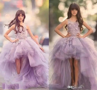 2018 Lavender Hi- Lo Girls Pageant Dresses With Appliques Bea...