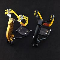 야외에서 최신 모든 - 금속 슬링 샷 접는 손목 투석기 야외 사냥 새총와 함께 고정 클립 2 개 강력한 고무 밴드