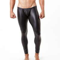 New 3 color mens long pants tight fashion hot black Faux lea...