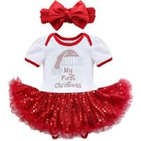아기 소녀의 크리스마스 의류 세트 내 첫 크리스마스 Romper + 붉은 장식 조각 드레스 + bowknot 머리띠 유아 크리스마스 점프 슈트 생일 선물 세트