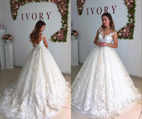 Elegant Lace Sheer Neck A- Line Wedding Dresses Cap Sleeves M...