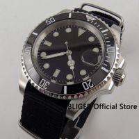 Sapphire Crystal 40MM BLIGER Black Sterile Dial  Mechanical Men's Watch Nylon Strap MIYOTA Automatic Movement Wristwatch