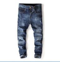 En kaliteli erkek Pilili dikiş deliği Kot Yeni Tasarımcı Erkekler kot Ünlü Marka Slim Fit Erkek Baskılı Kot Denim Pantolon 7113