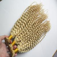 300g # 613 Bleach rubio Remy Pre Bonded Extensión de cabello humano rizado rizado Fusión de cabello Keratina Cápsulas I Consejo Colorido