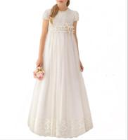 최신 핸드 메이드 레이스 화이트 시폰 여아 옷 입히기 복장 2019 여아 첫번째 친교 복장 아이 공식적인 착용 결혼식을위한 꽃 소녀는 복장을한다