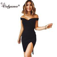 Colysmo fora do ombro garfo cor sólida sexy dress sem mangas magro cintura alta mini vestidos de verão mulheres party dress vestidos novos