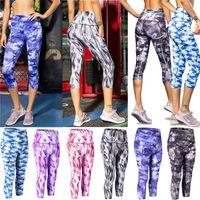 3/4 YOGA Pantalón de pantalón Rápido Secado Impresión Deportivo Pantalón Gimnasio Fitness Pantalones ajustados Correr Lenginings