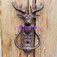Rústico hierro fundido reno puerta aldaba ciervos ciervo cabeza puerta manija puerta pestillo país rural metal puerta decoración QW8011