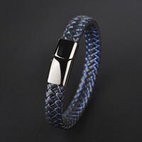 22cm Bijoux Punk Noir Bleu Bracelet cuir tressé pour hommes en acier inoxydable fermoir magnétique Mode Bangles Cadeaux 10PCS Cadeau de Noël