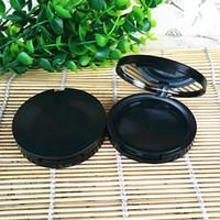 Matte Black Empty Blusher Round Ombretto Caso Rossetto Contenitore pressato Polvere cosmetica Scatola di imballaggio compatta F455