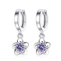 Mujeres Pendientes de diamante de la CZ 925 pendientes de gota de cristal señoras de la flor Joyería de plata adornados con cristales de Swarovski De J77