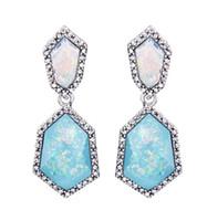 Freier Glitter Drusy Opal Ohrring 14 Farbe Gold Überzogene Shinny Rainbow Opal Ohrstecker Frauen Modeschmuck