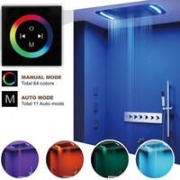Termostatico Valvola Touch Panel LED Soffione a pioggia Testa cascata Bagno Doccia Set 71X43cm Big Misty Showerhead Massage Spa