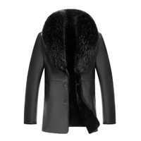PU Deri Ceketler erkek Kürk Palto Kaşmir Tops Kalınlaşmak Sıcak Dış Giyim Palto Rüzgar Geçirmez Su Geçirmez 2018 Artı Boyutu XL -5XL