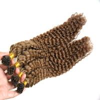 Brasilianisches tiefes lockiges vorgebundenes brasilianisches lockiges Haar Keratin Stick Tip Echthaarverlängerungen 200g Remy Echthaarverlängerungen Keratin I Tip