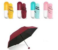 Caso Cápsula Guarda-chuva Ultra Leve Mini Dobrável Guarda-chuva Guarda-chuva de Bolso Compacto À Prova de Vento Chuva Guarda-sóis SN1052