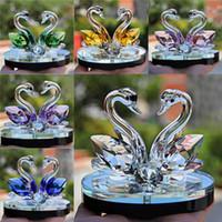 Figurine di cigno animale in vetro di cristallo Fermatempo Feng Shui Artigianato Figurine collezione d'arte per la decorazione domestica di nozze Regali per bambini