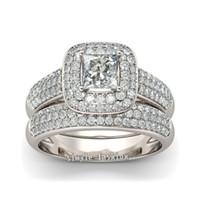 Мода ювелирные изделия женщины обручальное кольцо проложить набор 138 шт. Cz камни кольцо 14KT белое золото GF обручальное кольцо набор