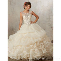 Champagne Quinceanera Dresses Ball Gowns Sweetheart Beaded C...