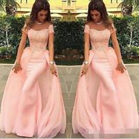 Vestidos de noche largos 2019 Sirena abendkleider de encaje de color rosa vestido de fiesta formal Vestidos de noche árabes vestido de fiesta