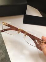 vente en gros nouvelles lunettes sans monture optique design de mode rétro pieds en bois de verre transparent qualité simple top style d'affaires