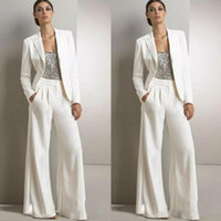 2019 New Modest Bling Sequins Pants Suits Mother Of The Brid...