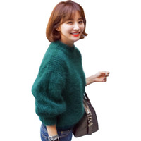 Outono inverno nova camisola mulheres meia-alta gola de pêlo longo vison mohair espessura solta lanterna manga pullover vestidos LXJ181