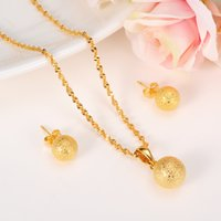 Gold cute Bead Jewelry sets necklace Round Ball pendant Earr...