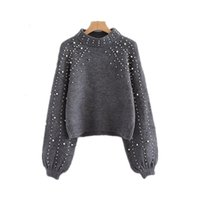 Mode Automne Jumper Femmes Gris Perles Perle Hiver Pull Pull Tricoté Femelle Lanterne Manches Manteau Sweter Mujer