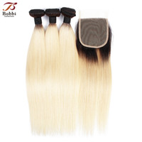 T 1b 613 Dark Root Blonde Extensions Brazilian Straight Hair...