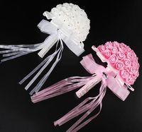 Gelin buketi Düğün Çiçekleri Yapay çiçek Nedime Şerit Kristal Yarımküre şekli Güller Beyaz Pembe Kore tarzı