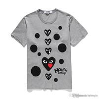 2018 제한 COM 최고 품질 그레이 CDG 새로운 남성 여자 DES는 GARCONS CDG 심장 기본적인 티 반팔 T 셔츠를 재생