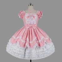 Kundenspezifische 2018 Süße Frauen Layered Lolita Kleider Halloween Kurzarm Baumwolle Bogen Cosplay Kostüm Für Mädchen 3 Farben