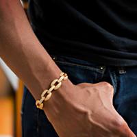 21cm 2018 kubanische Gliederkette Labor Diamant cz Herren Armband vergoldet vereist bling Coole Hip Hop Rock junge Männer Schmuck Kette