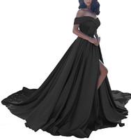 여성을위한 실제 사진 섹시한 맞춤 제작 된 오프 숄더는 사이드 슬릿 플러스 사이즈 - 라인 새틴 롱 부르고뉴 이브닝 드레스 정장 가운