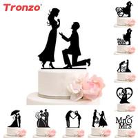 Décoration de mariage Cake Topper M. Mme Acrylique Noir Toppers Romantique Mariée Marié Pour Mariage Mariage Party Favors