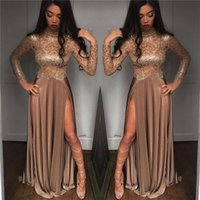 See Through Sexy 2018 New Luxury A Line Prom Dresses High Si...