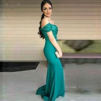 어깨 인어 이브닝 드레스 스팽글 섹시한 댄스 파티 드레스 신부 들러리 드레스 파티 드레스 파티 드레스 정장 착용 오프 터키석 녹색