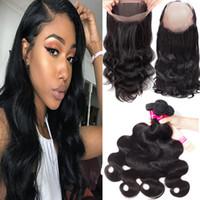 8A Remy Straight Body Wave trama dei capelli con 360 pieno Laace chiusura non trasformati brasiliano indiano malese peruviano dei capelli umani colore naturale