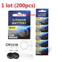 200 stücke 1 los CR1216 3 V Lithium li ion knopfzelle CR 1216 3 Volt li-ion münzenbatterien freies verschiffen