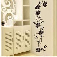 검은 꽃 덩굴 벽 스티커 냉장고 창 찬장 홈 장식 DIY 홈 데칼 아트 벽화 포스터 홈 장식