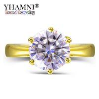 YHAMNI Оригинал 2 CT 6 мм Круглый CZ Диамант Сплошные желтые Золотые кольца Anillos Золотой Цвет Обручальные кольца для Женщин Подарок LYR169