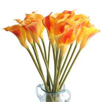 도매 큰 크기 리얼 터치 PU 칼라 릴리 인공 꽃 손 느낌 플로레스 Artificiais 웨딩 장식 홈 파티 장식 fleurs