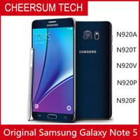 2019 Горячие Продажи Оригинальные разблокированные Samsung Galaxy Note 5 N920 Octa Core 4 ГБ ОЗУ 32 ГБ ROM LTE 16.0MP 5.7 '' Mobile Phone DHL Бесплатный 1 шт.
