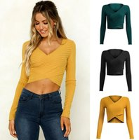 Solid color knit cross blouse deep V Slim long sleeve bottom...