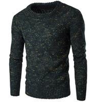 따뜻한 스웨터 남성 두껍게 풀오버 스웨터 남성 목 컬러 도트 슬림 맞는 뜨개질 남성 스웨터 남자 스웨터 남성 2XL 높은 품질